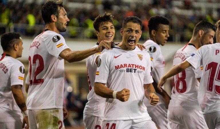 Javier Hernández brilla en la victoria del Sevilla en Europa League