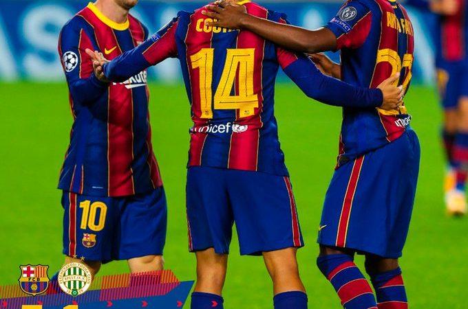 Barcelona empieza la temporada de la Champions League con goleada sobre el Ferencvaros