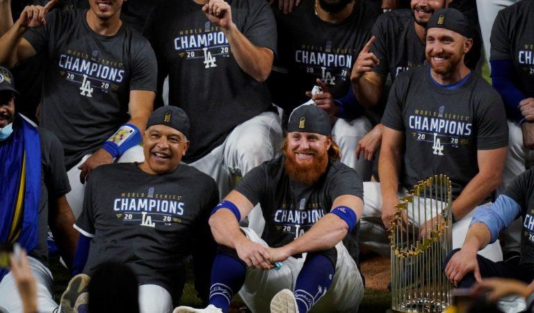 Justin Turner festejó el título de los Dodgers a pesar de haber dado positivo a Covid-19